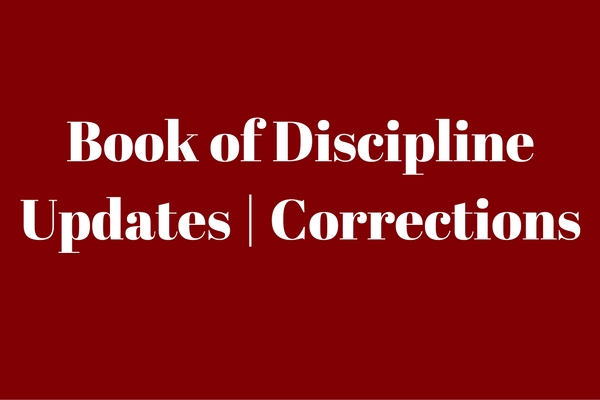 Book of Discipline Updates and Corrections